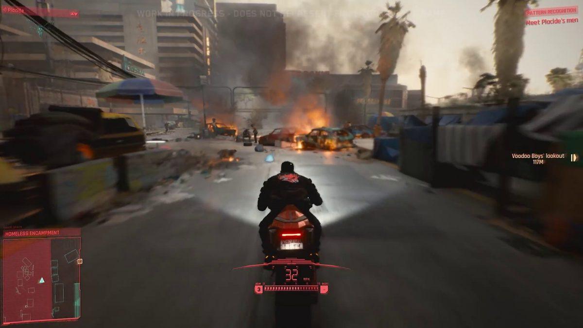 Езда на мотоцикле в Киберпанк 2077